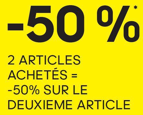 -50% sur le 2eme articles achetés*